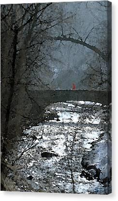 Girl On Bridge Canvas Print