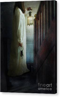 Girl On Stairs With Lantern And Keys Canvas Print by Jill Battaglia