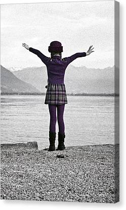 Girl On The Shores Of Lake Maggiore Canvas Print by Joana Kruse
