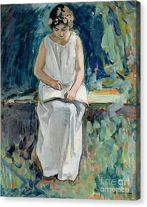 Girl Reading Canvas Print by Henri Lebasque