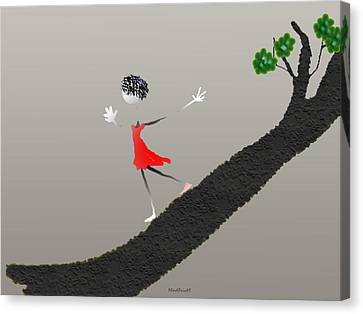 Canvas Print featuring the digital art Girl Running Down A Tree by Asok Mukhopadhyay