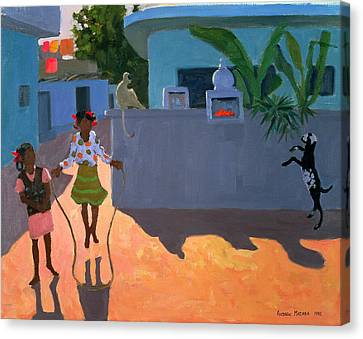 Girl Skipping Canvas Print by Andrew Macara