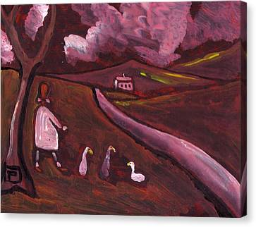 Girl Walking With Geese Canvas Print by Peter  McPartlin