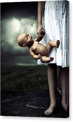 Thriller Canvas Print - Girl With A Baby Doll by Joana Kruse