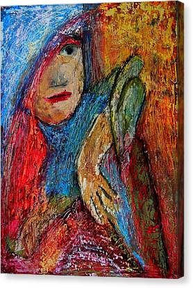 Girl With A Green Parrot  Canvas Print