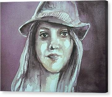 Girl With A Hat Canvas Print by Aleksandra Buha
