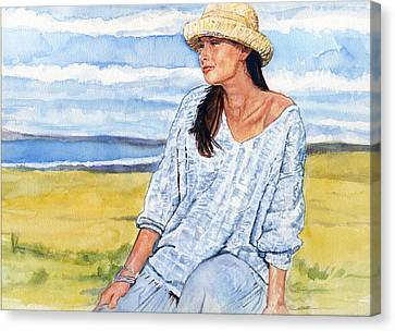 Girl With A Hat Canvas Print by Michael Haslam