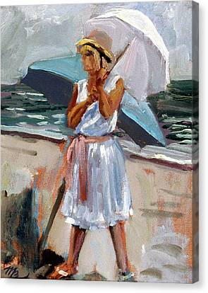 Girl With A Parisol Canvas Print by Mark Lunde