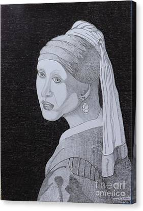 Canvas Print featuring the drawing Girl With A Pearl Earring by Gerald Strine