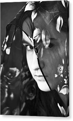Face Canvas Print - Girl With A Rose Veil 2 Bw by Angelina Vick