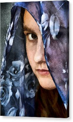 Girl With A Rose Veil 3 Illustration Canvas Print by Angelina Vick
