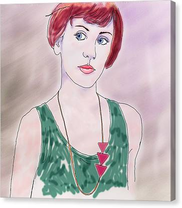 Canvas Print featuring the digital art Girl With Necklace by Ginny Schmidt