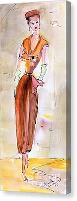 Girl With Pillbox Hat Vintage Fashion  Canvas Print by Ginette Callaway
