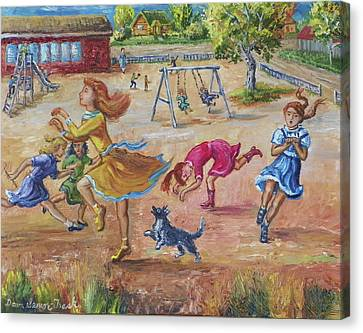 Girls Playing Horse Canvas Print