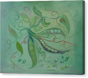 Canvas Print featuring the painting Give Peas A Chance by Carol Berning