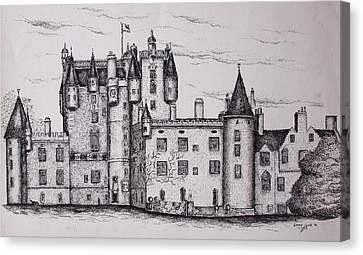 Canvas Print featuring the drawing Glamis Castle by Sheep McTavish