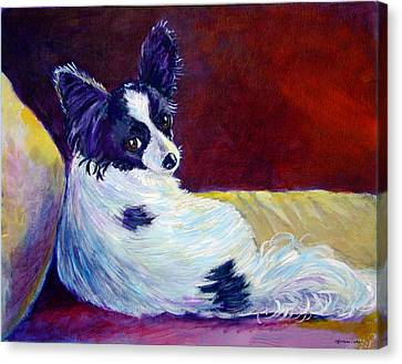 Glamor Canvas Print - Glamor - Papillon Dog by Lyn Cook