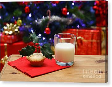 Glass Of Milk And A Mince Pie For Santa Canvas Print