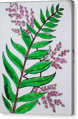 Glass Painting-plant Canvas Print by Rejeena Niaz