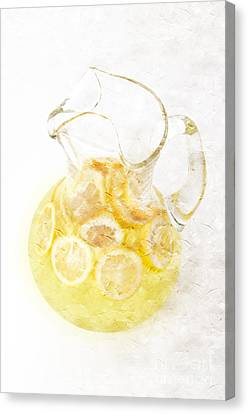 Glass Pitcher Of Lemonade Canvas Print by Andee Design
