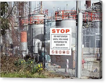 Stop Sign Canvas Print - Glaxosmithkline Factory,uk by Mark Williamson