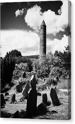 Glendalough Round Tower Ireland Canvas Print by Joe Fox