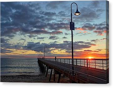 Canvas Print featuring the photograph Glenelg Sunset by Paul Svensen
