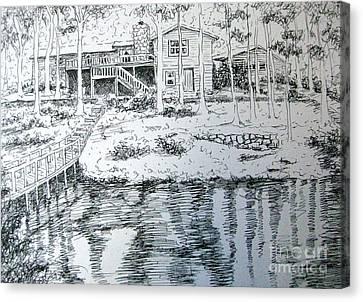 Canvas Print featuring the pastel Glen's Home by Gretchen Allen
