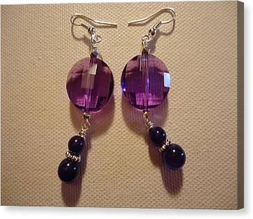 Glitter Me Purple Earrings Canvas Print by Jenna Green