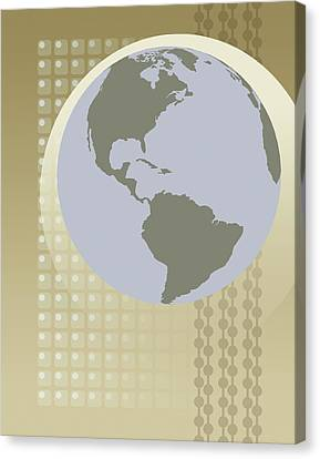 Globe Showing North And South America Canvas Print by Don Bishop