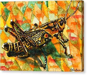Glorious Grasshopper Canvas Print by Miriam  Schulman