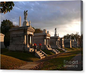 Canvas Print featuring the photograph Glowing Cemetery by Jeanne  Woods