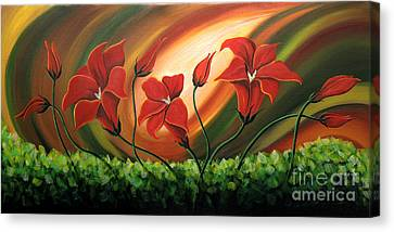 Glowing Flowers 4 Canvas Print by Uma Devi