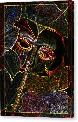 Canvas Print featuring the relief Glowing Mask With Leaves by Nareeta Martin