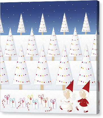 Gnomes - December Canvas Print by ©cupofsnowflakes