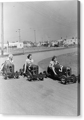 Go Cart Canvas Print - Go Go Cart Girls by General Photographic Agency