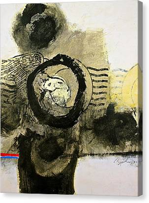 Canvas Print featuring the painting Go In Post Hole by Cliff Spohn