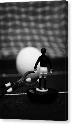 Goalkeeper Diving To Foul Player In The Box Football Soccer Scene Reinacted With Subbuteo  Canvas Print by Joe Fox
