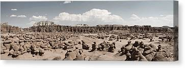 Canvas Print featuring the photograph Goblin Valley Desert Large Panorama by Mike Irwin