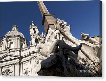 God Of The River Ganges. Fontana Dei Quattro Fiumi. Piazza Navona. Rome Canvas Print by Bernard Jaubert