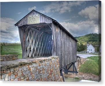 Goddard Covered Bridge Canvas Print by Harold Rau