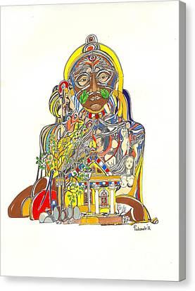 Goddess And The Temple Canvas Print by Padamvir Singh