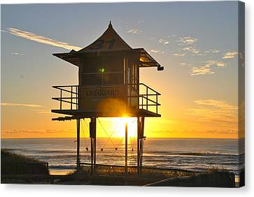 Canvas Print featuring the photograph Gold Coast Life Guard Tower by Eric Tressler