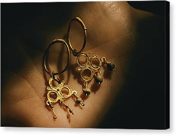 Gold Earrings Hung With Pearls Are Part Canvas Print by Ira Block