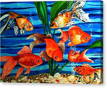 Gold Fishes Canvas Print by Johnson Moya