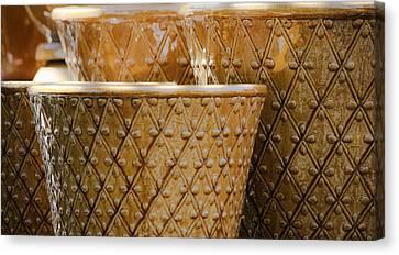 Ceramic Glazes Canvas Print - Gold Planters by Teresa Mucha