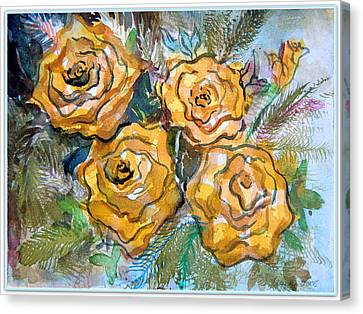 Gold Roses Canvas Print by Mindy Newman