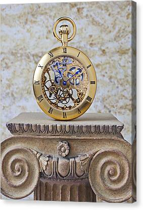 Gold Skeleton Pocket Watch Canvas Print by Garry Gay