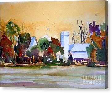 Golden Autumn Farm Canvas Print by Mindy Newman
