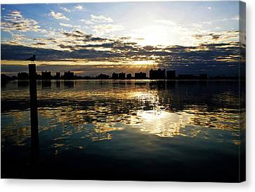 Canvas Print featuring the photograph Golden Bayside by Jalai Lama